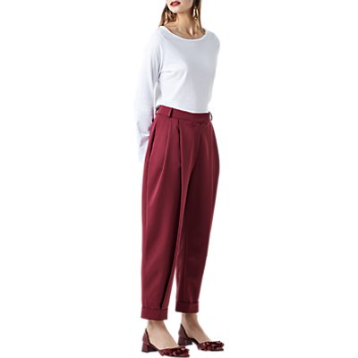 Finery Rushbrook Peg Trousers, Red Plum