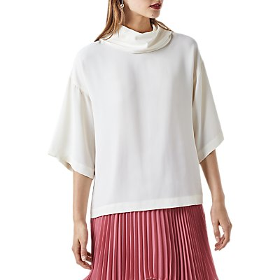 Finery Rhia Cape Roll Neck Top, Ivory