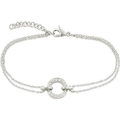 London Road 9ct White Gold Diamond Circle Charm Meridian Bracelet
