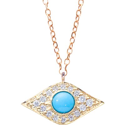 London Road Enchanted Evil Eye 9ct Yellow Gold Diamond Turquoise Pendant Necklace, Gold