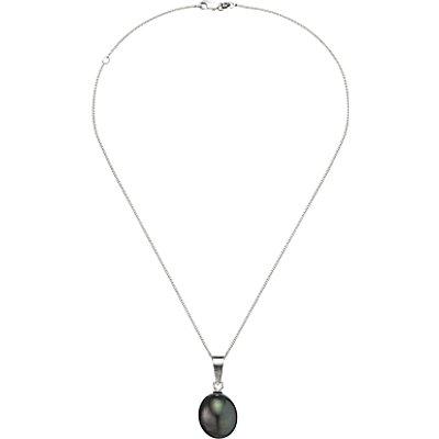 A B Davis Cultured River Baroque Pearl Pendant Necklace, Black/Silver