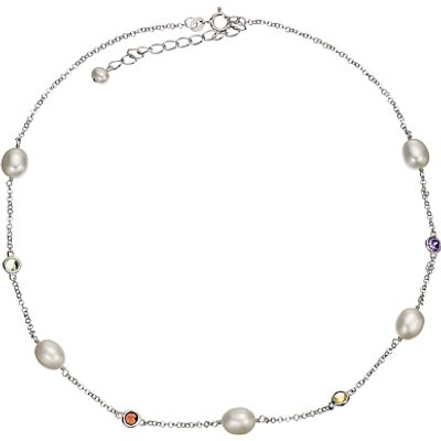 A B Davis Freshwater Pearl and Cubic Zirconia Necklace