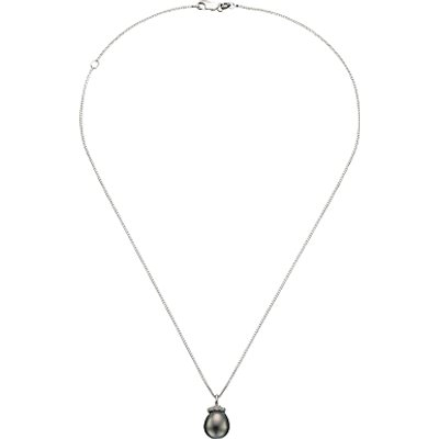 A B Davis Sterling Silver Tahitian Pearl Pendant Necklace, Grey
