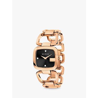Gucci YA125409 Women s I Gucci Diamond Dial Bracelet Strap Watch  Rose Gold Black - 0731903327368