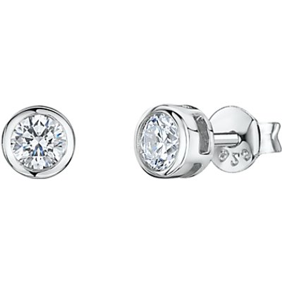 Jools by Jenny Brown Round Cubic Zirconia Stud Earrings, Silver