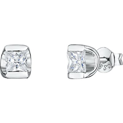 Jools by Jenny Brown Cubic Zirconia Cupped Stud Earrings, Silver