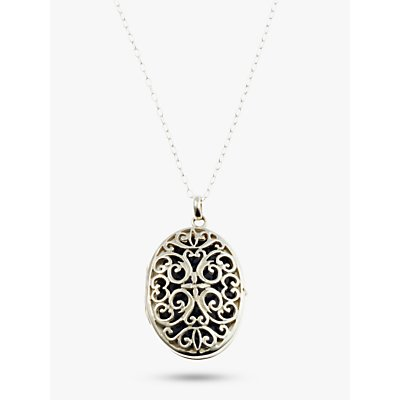 Nina B Lattice Locket Pendant Necklace, Silver