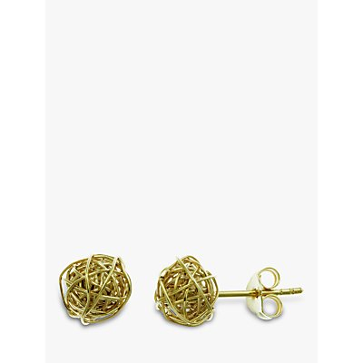 Nina Breddal 9ct Yellow Gold Wire Ball Stud Earrings, Gold