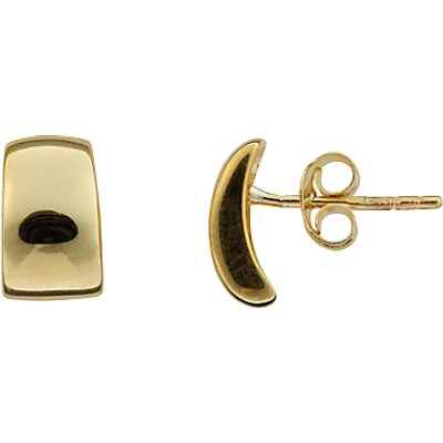 Nina B 9ct Yellow Gold Concave Rectangle Stud Earrings, Gold