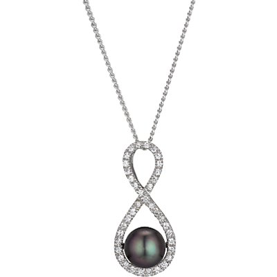 A B Davis Figure of 8 Freshwater Pearl and Cubic Zirconia Pendant, Silver