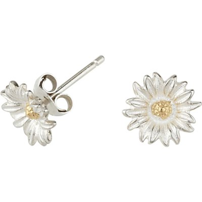 Dower & Hall Daisy Stud Earrings, Silver