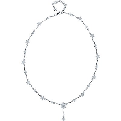 Jools by Jenny Brown Sterling Silver Cubic Zirconia Flower Necklace, Silver