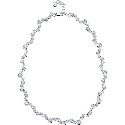 Jools by Jenny Brown Sterling Silver Rubover Set Cubic Zirconia Necklace, Silver