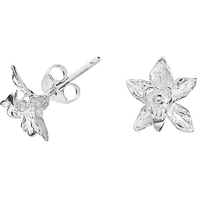Dower & Hall Small Orchid Stud Earrings, Silver