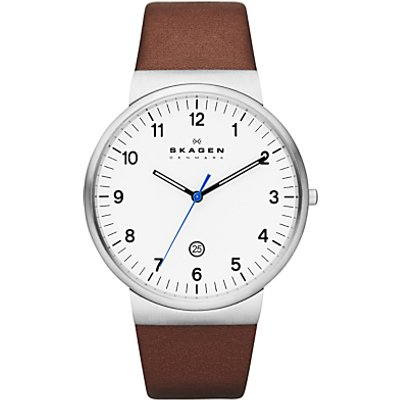 Skagen SKW6082 Men s Klassik Leather Strap Watch  Brown White - 0768680196658
