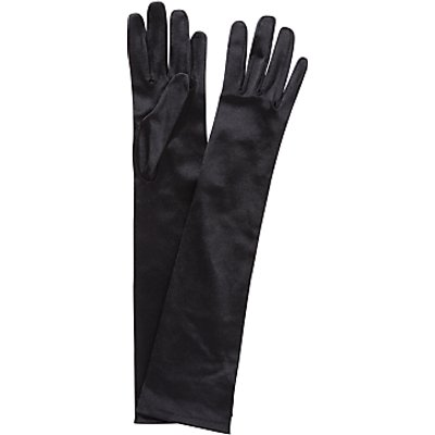 John Lewis Long Satin Evening Gloves, Black