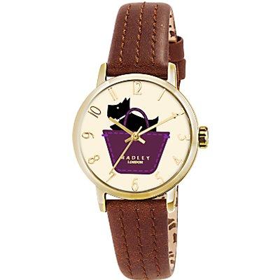 Radley RY2290 Women's Basket Dog Stitch Leather Strap Watch, Tan/Cream