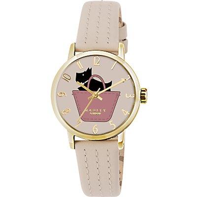 Radley RY2288 Women's Basket Dog Stitch Leather Strap Watch, Taupe/Multi