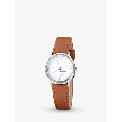 Mondaine MH1L1110LG Unisex Helvetica Leather Strap Watch, Brown/White