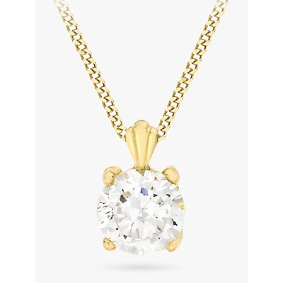 IBB 9ct Yellow Gold Cubic Zirconia Pendant Necklace, Yellow Gold
