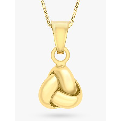 IBB 9ct Yellow Gold Knot Pendant Necklace, Gold