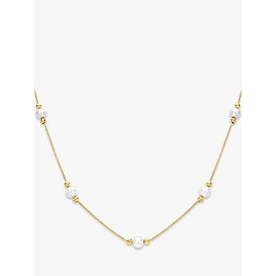 IBB 9ct Gold Pearl Hexagonal Snake Chain Necklace