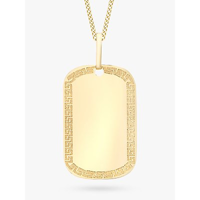 IBB 9ct Yellow Gold Grecian Dog Tag Pendant, Gold