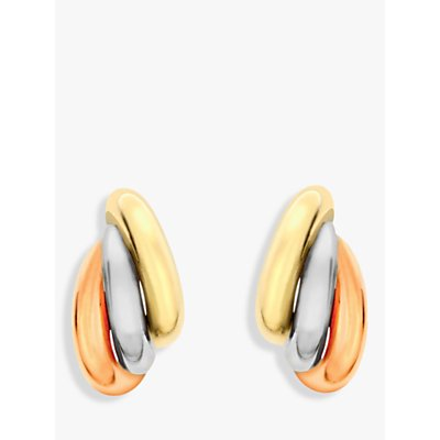 IBB 9ct Gold Three Colour Russian Stud Earrings, Gold