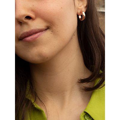 IBB 9ct Gold Polished Creole Earrings, Rose Gold