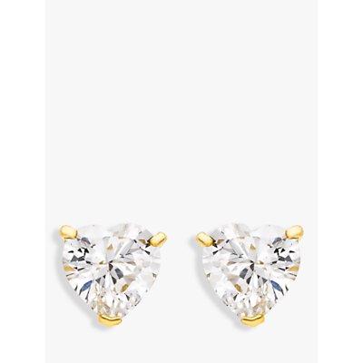 IBB 9ct Gold Cubic Zirconia Heart Stud Earrings, Gold