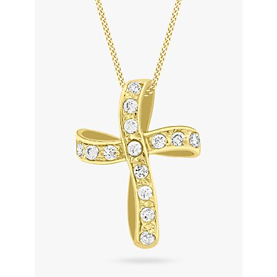 IBB 9ct Yellow Gold Twisted Cubic Zirconia Cross Pendant, Gold