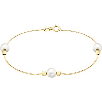John Lewis 9ct Yellow Gold Pearl Ball Bead Snake Chain Bracelet, Gold