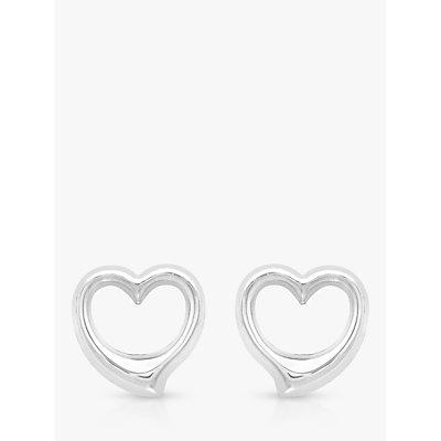 IBB 9ct White Gold Heart Stud Earrings, White