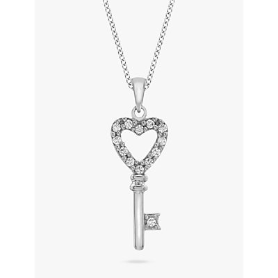 IBB 9ct White Gold Cubic Zirconia Key Pendant