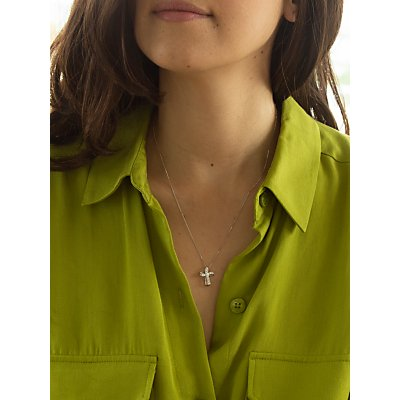 IBB 9ct White Gold Twisted Cubic Zirconia Cross Pendant, White Gold