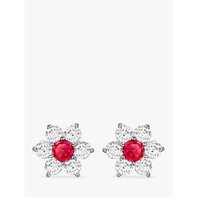 IBB 9ct White Gold Flower Cluster Stud Earrings