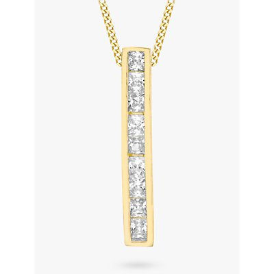 IBB 9ct Gold Cubic Zirconia Bar Drop Slider Pendant, Gold
