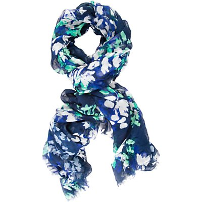 Chesca Floral Printed Scarf, Navy