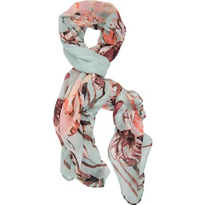 Chesca Flower Print Scarf, Mint/Coral