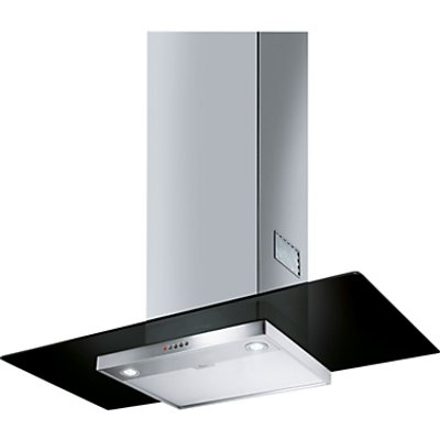 Smeg KFV92DNE 90cm Flat Glass Chimney Cooker Hood Stainless Steel And Black Glass 8017709203160