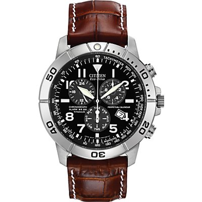 Citizen BL5250 02L Men s Chronograph Titanium Leather Strap Watch  Brown Black - 4974374130495