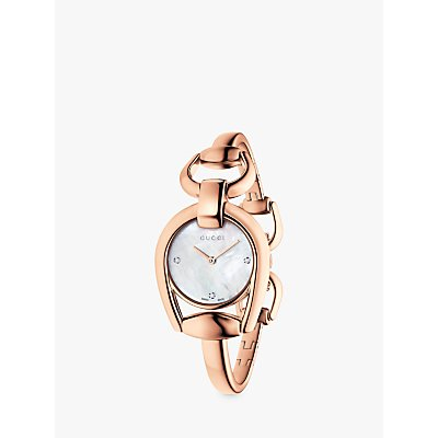 Gucci YA139508 Women s Horsebit Diamond Bracelet Strap Watch  Rose Gold White - 0731903361249