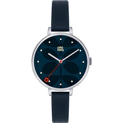 Orla Kiely OK2011 Women's Slim Strap Leather Strap Watch, Navy