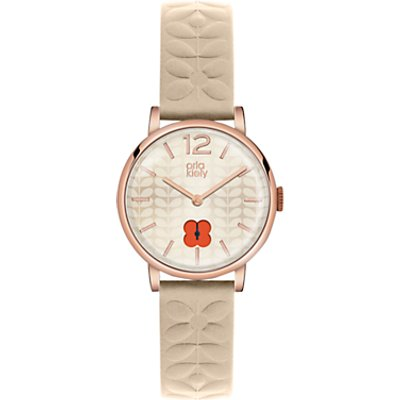 Orla Kiely Women's Floral Stamp Dial Leather Strap Watch