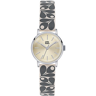 Orla Kiely Women's Plant Print Strap Leather Strap Watch