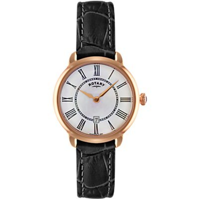 Rotary LS02919/41 Women's Elise Leather Strap Watch, Black/White