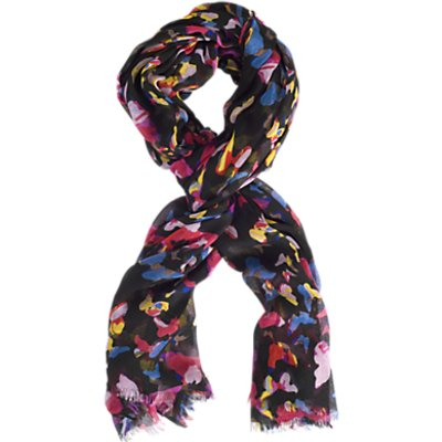 Chesca Butterfly Print Scarf, Black/Pink