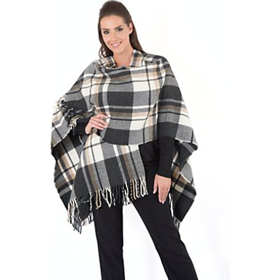 Chesca Oversized Wrap, Camel/Charcoal