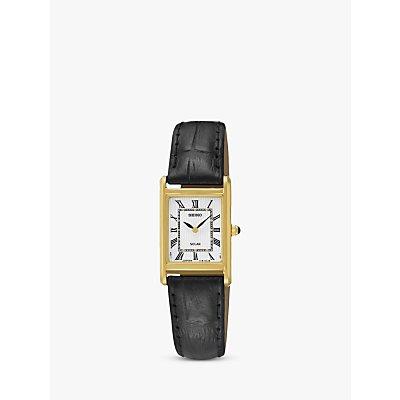 Seiko SUP250P1 Women's Solar Leather Strap Watch, Black/White