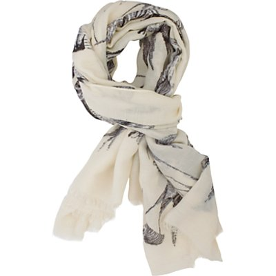 Chesca Bird Print Scarf, Cream